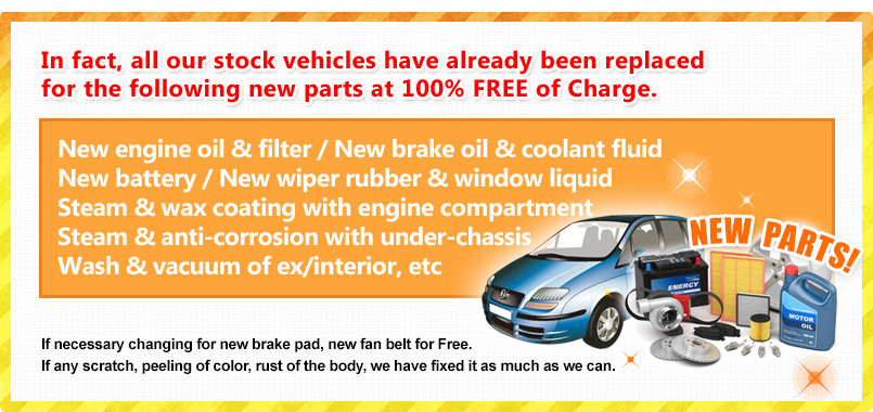 All New Parts Replaced at 100% FREE of Charge